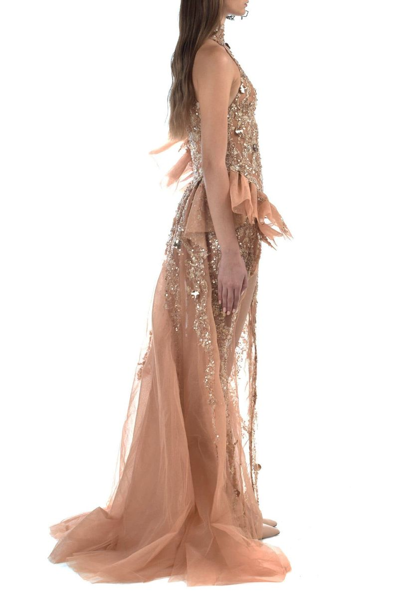 Pink Gold Embroidered Tulle Dress With Ruffled Sleeves - BYTRIBUTE