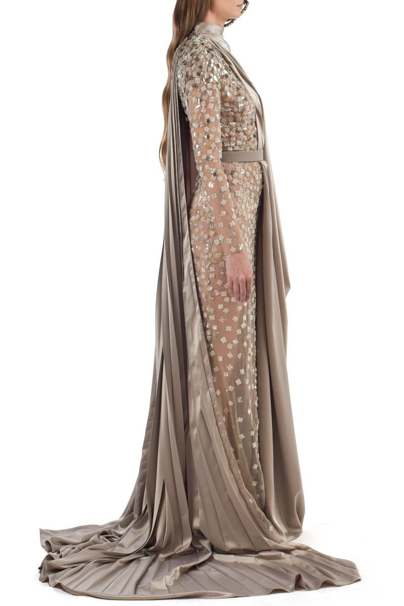 Long Gold Silk Embroidered Abaya Dress - BYTRIBUTE