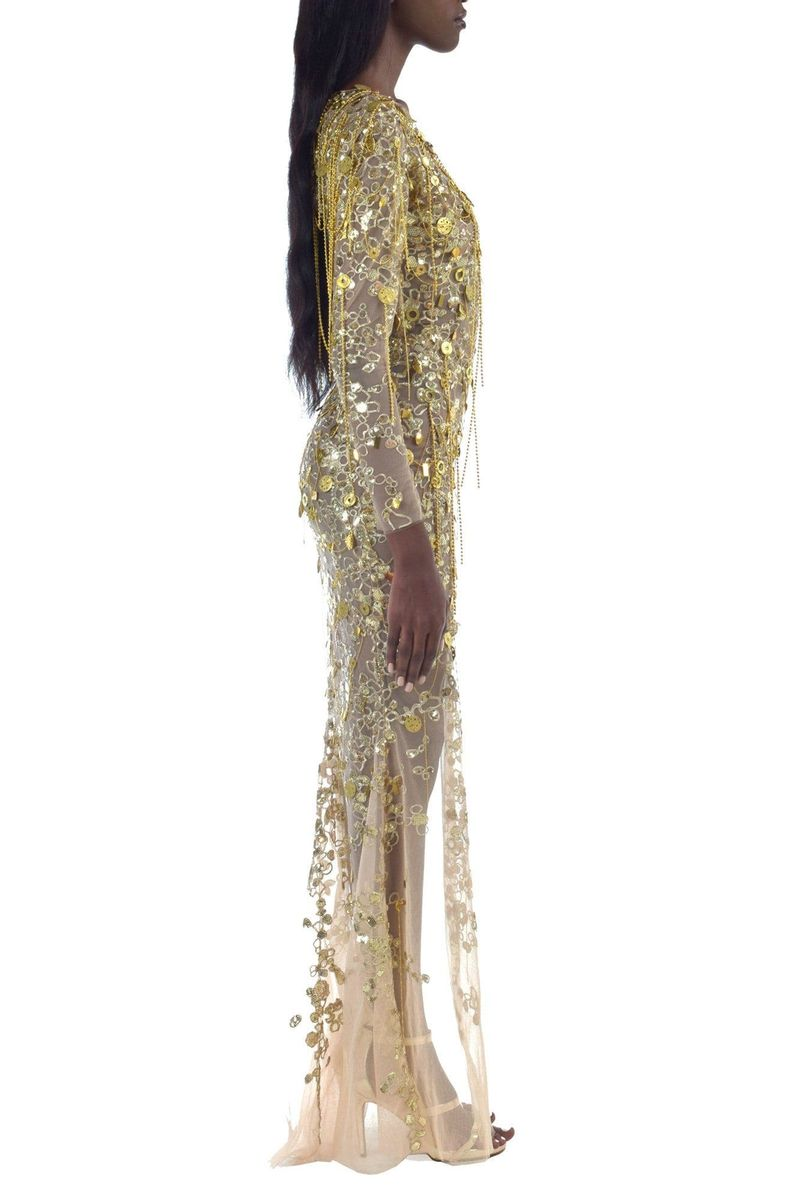 Gold Embroidered Asymmetric Dress - BYTRIBUTE