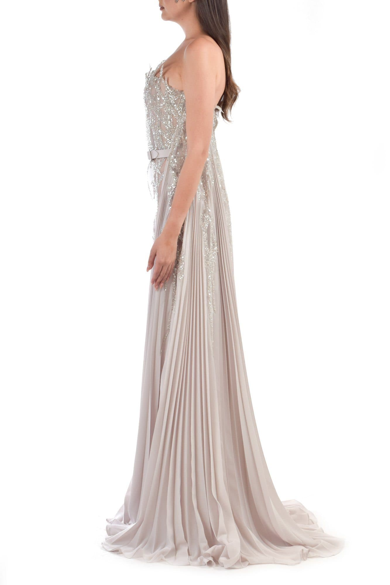 Strapless Beige Dress With With Pleated Cape