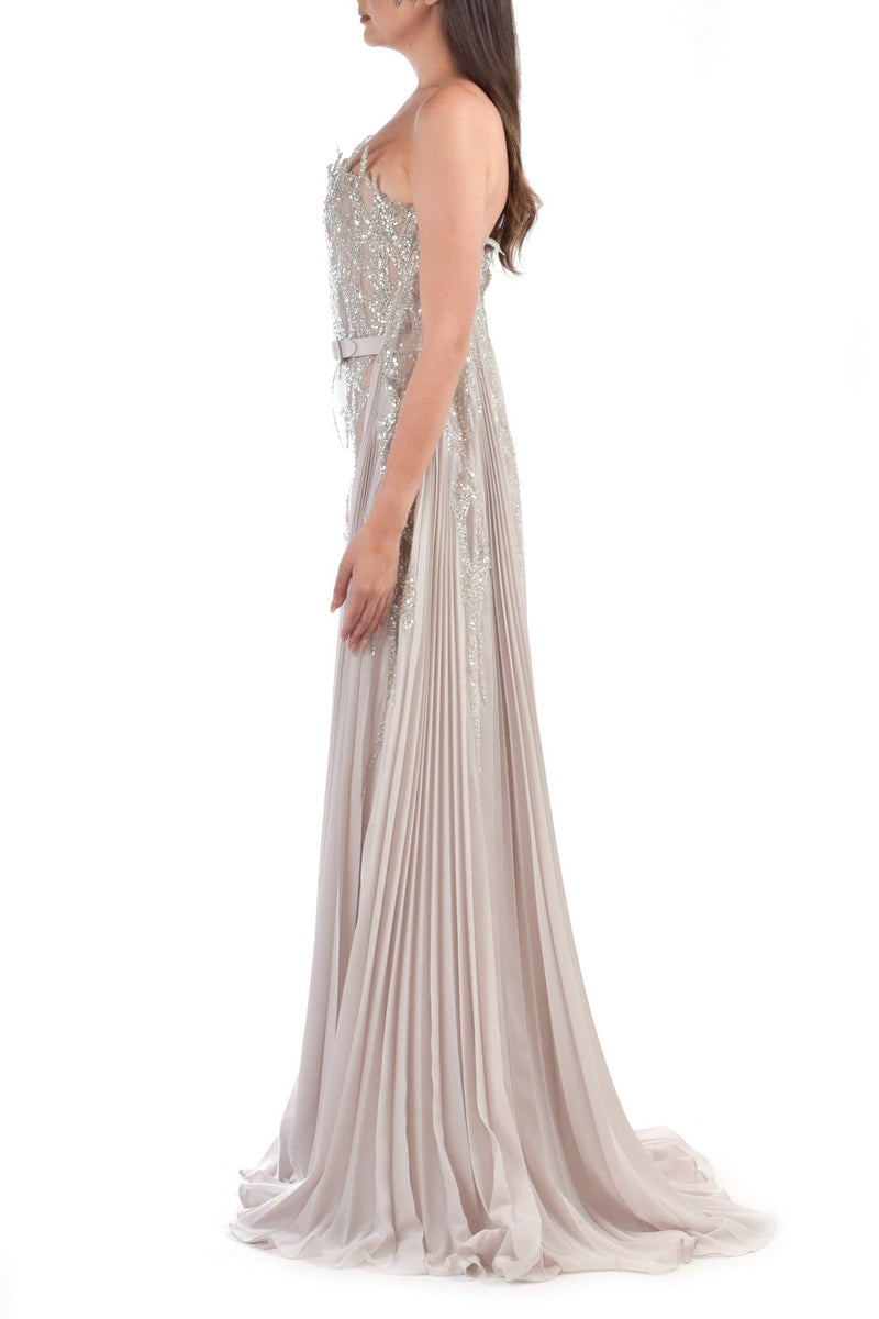 Strapless Beige Dress With With Pleated Cape - BYTRIBUTE