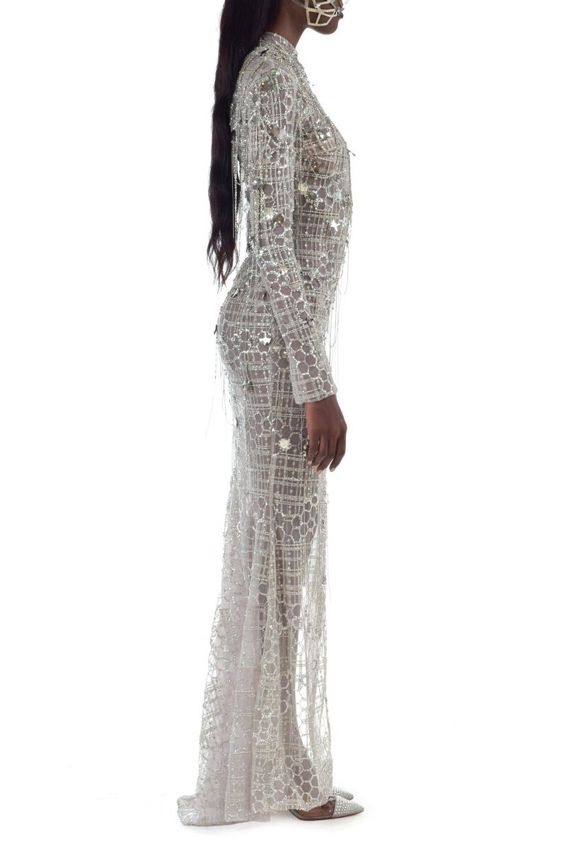 High Slit & Long Sleeves Silver Chains Dress - BYTRIBUTE