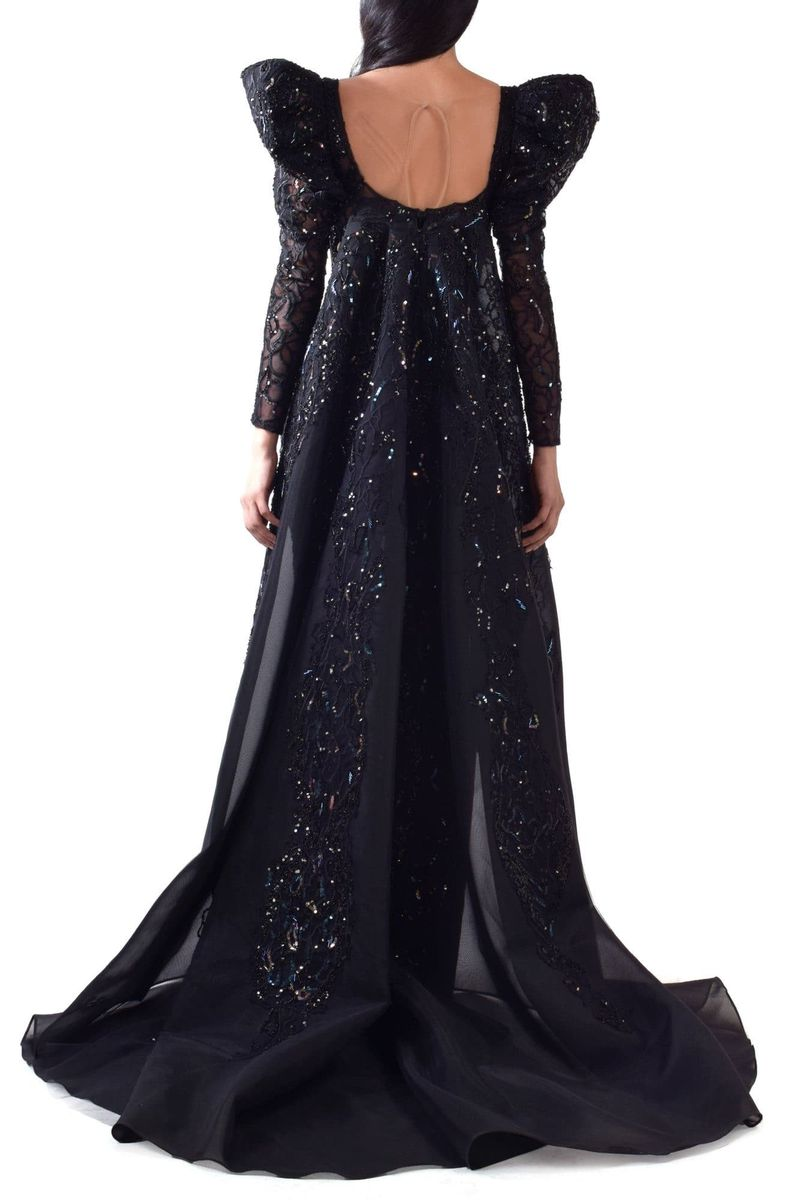 Embroidered Puff Sleeves Mermaid Dress With Cape - BYTRIBUTE