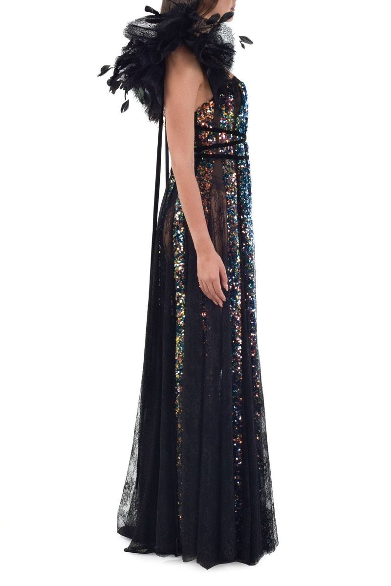 Multicolor Sequins Black Lace Dress With Feather Ruffle Sleeves