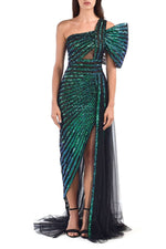 Blue & Green Embroidered Sequins Tulle Dress With High Slit - BYTRIBUTE