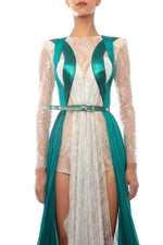 Silver & Emerald Bodysuit Dress - BYTRIBUTE