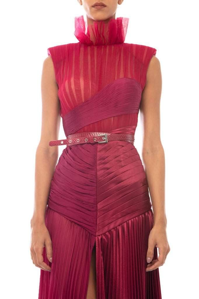 Long Draped Raspberry Silk Dress - BYTRIBUTE