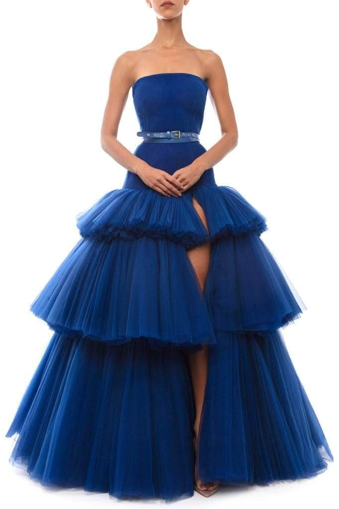 Pleated Tulle Ruffle Dress - BYTRIBUTE