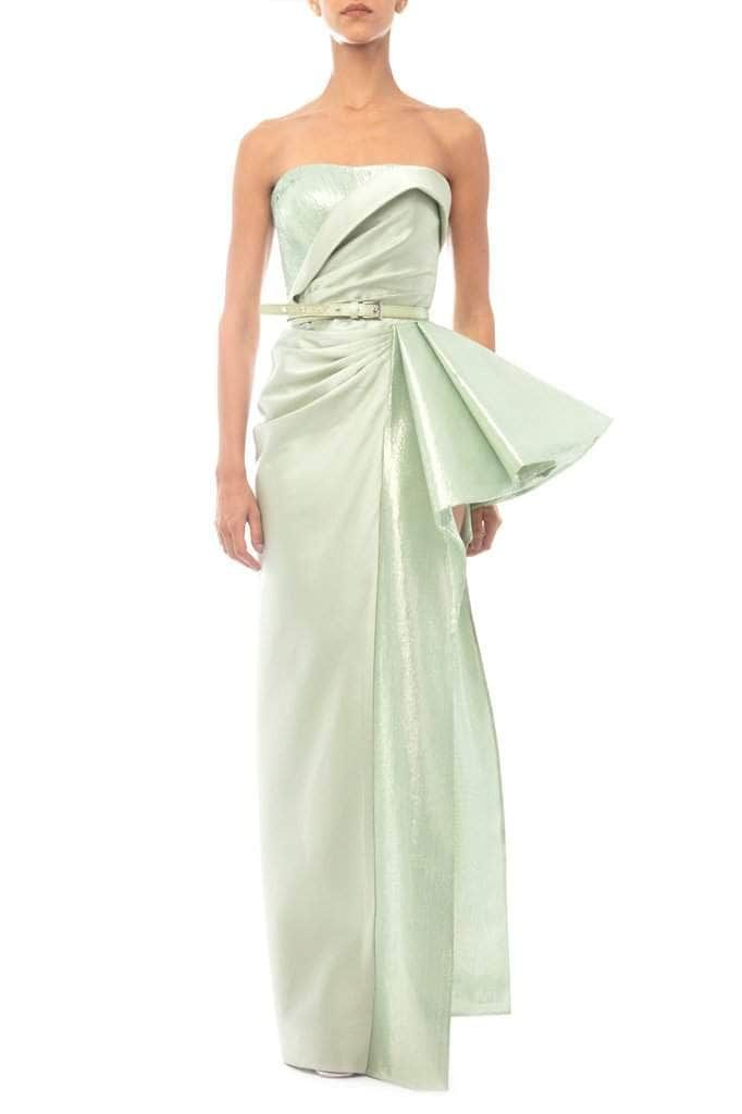 Light Green Draped Ruffled Dress - BYTRIBUTE