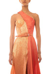Metallic Corset Orange Dress - BYTRIBUTE
