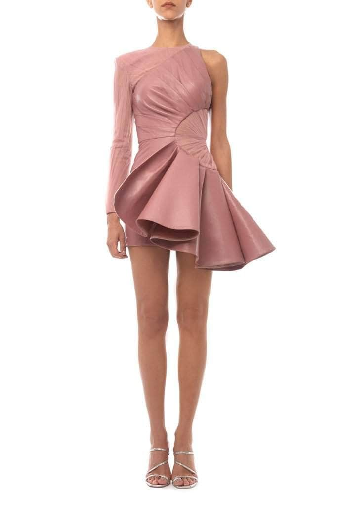 Asymmetrical Leather Pink Dress