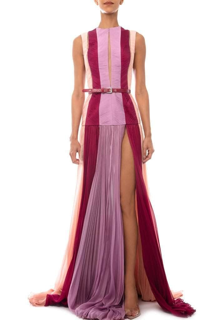 Draped Three Colored Long Dress - BYTRIBUTE