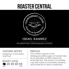 Counterpart Coffee - Israel Ramirez - Tasting Notes