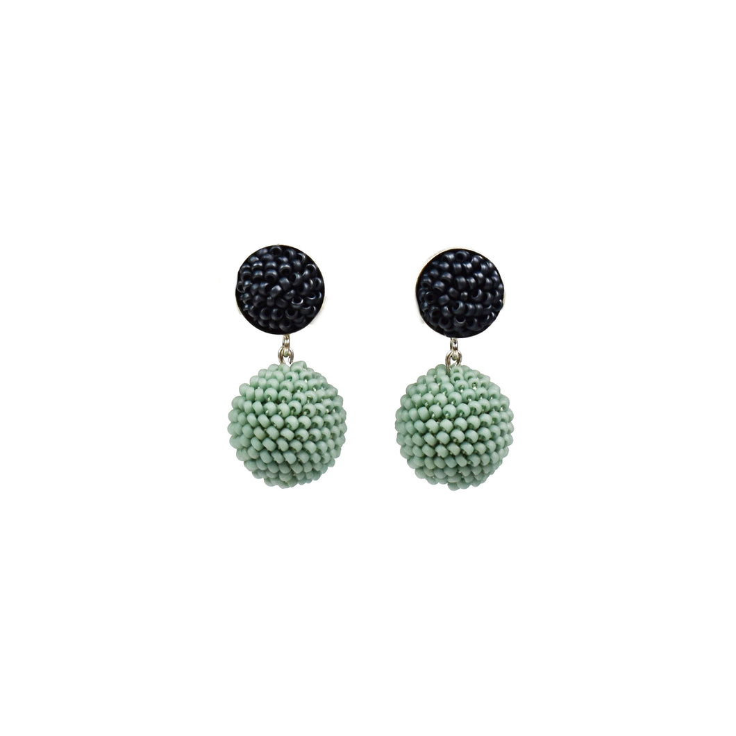 Olga Mihaylova Dark Grey/Turquoise Round Earrings