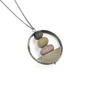 Jennifer Nunnelee Domed Circle with Stone Stack Necklace