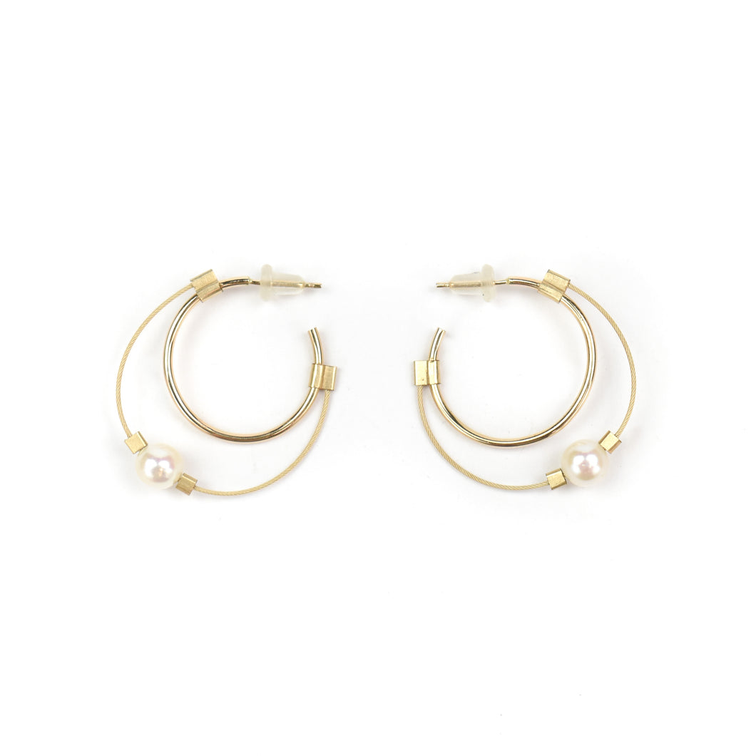 Meghan Patrice Riley Small Pearl/Gold Hoop Earrings