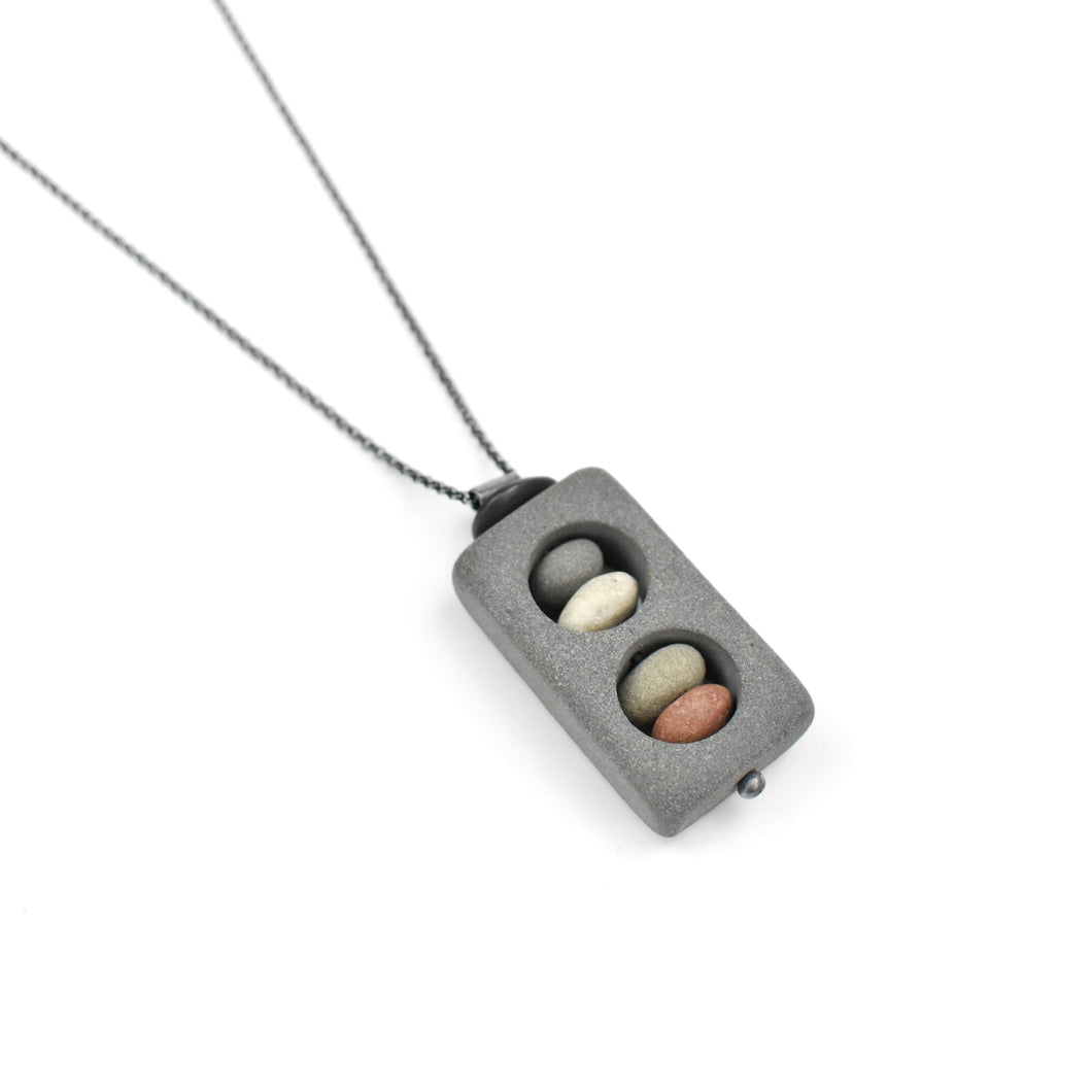Jennifer Nunnelee Stone in Stone Square Double Necklace