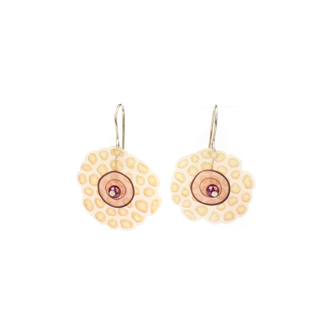 Laura Tabakman Peach with Copper Bead Drop Earrings