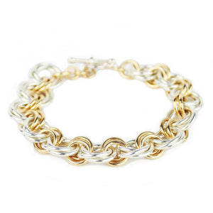 Larry Rosen Silver and Gold Double Circle Bracelet