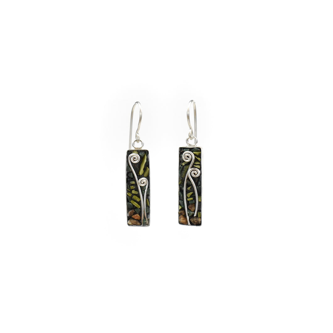 Aileen Lampman Sterling Fiddlehead Rectangles, Glass, Ohiopyle Rock, Green Agate Micro Mosaic Earrings