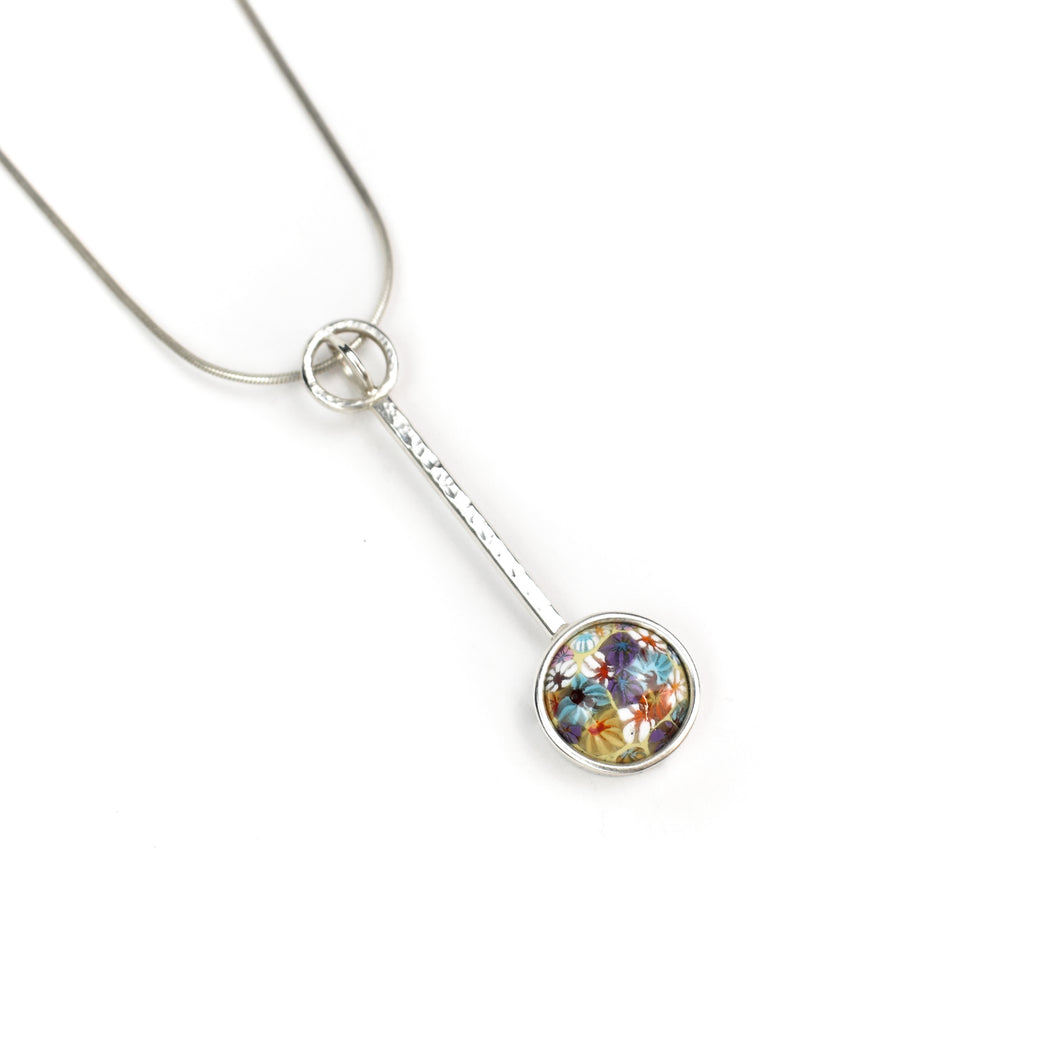 Sue Amendolara Floral Enamel Pendant Necklace