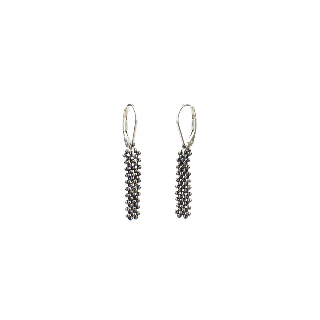 Tammy Schweinhagan Short Beaded Gunmetal Earrings
