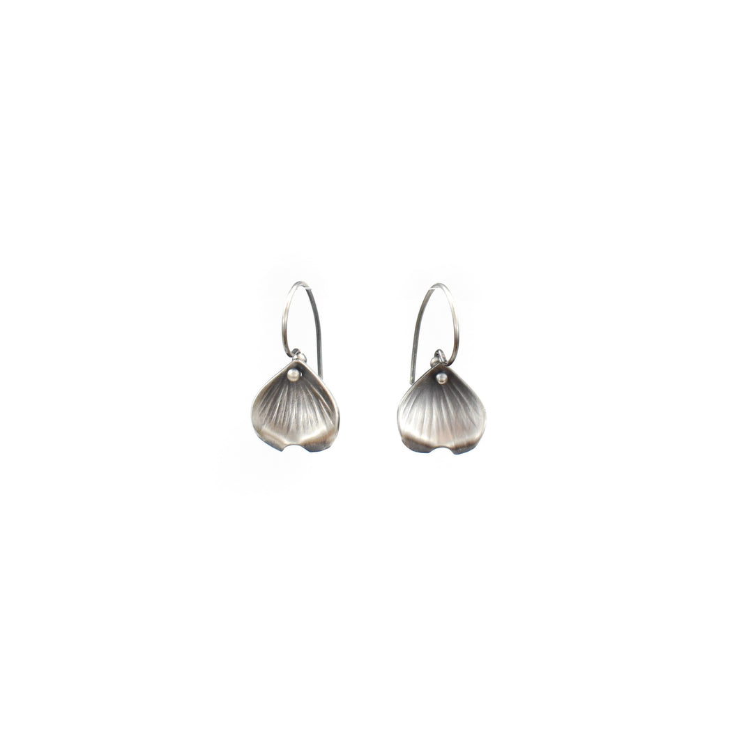 Aileen Lampman Oxidized Sterling Silver Dogwood Petal Earrings