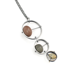 Jennifer Nunnelee Three Circle with Stone Necklace