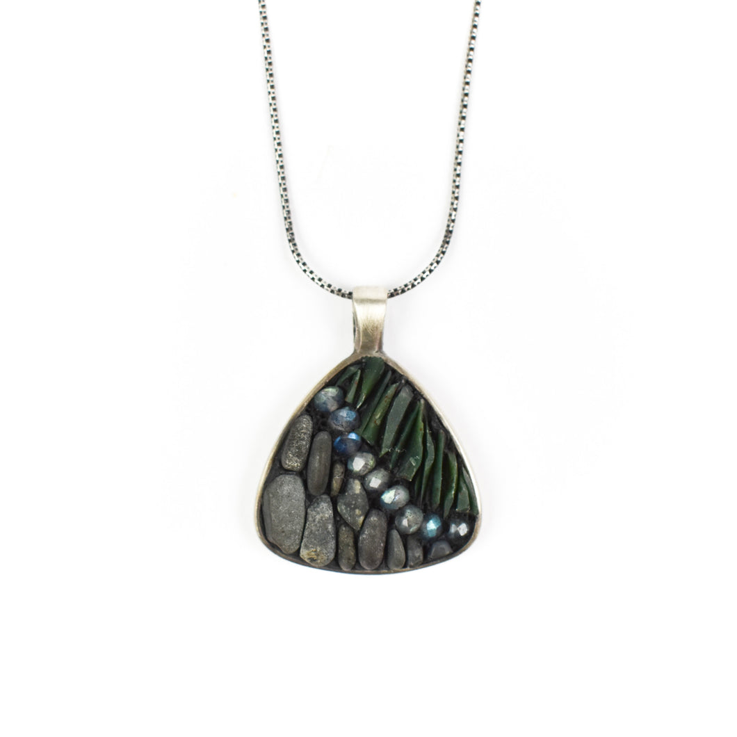 Aileen Lampman Gloucester Rock Triangle Micro Mosaic Pendant Necklace