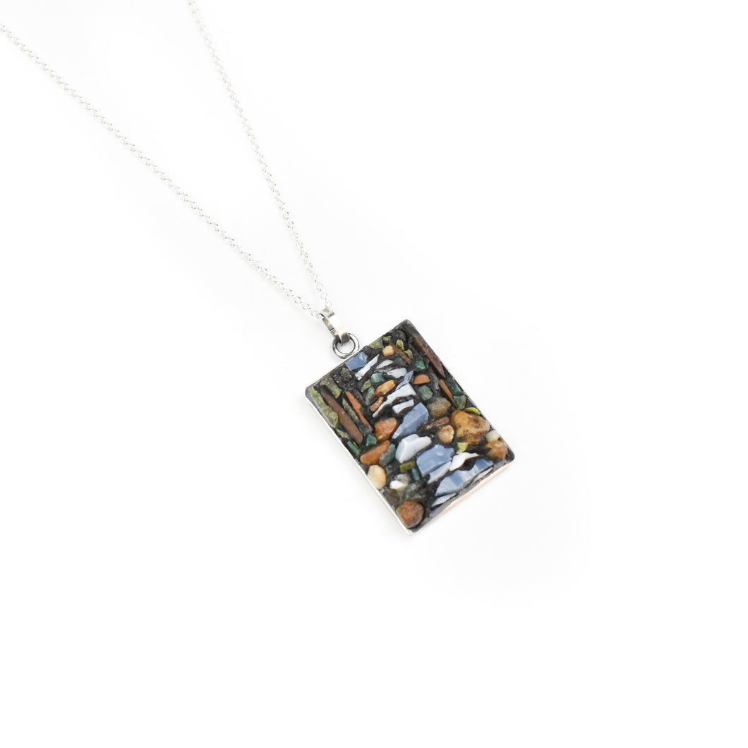Aileen Lampman Micro Mosaic Rectangle River Pendant Necklace
