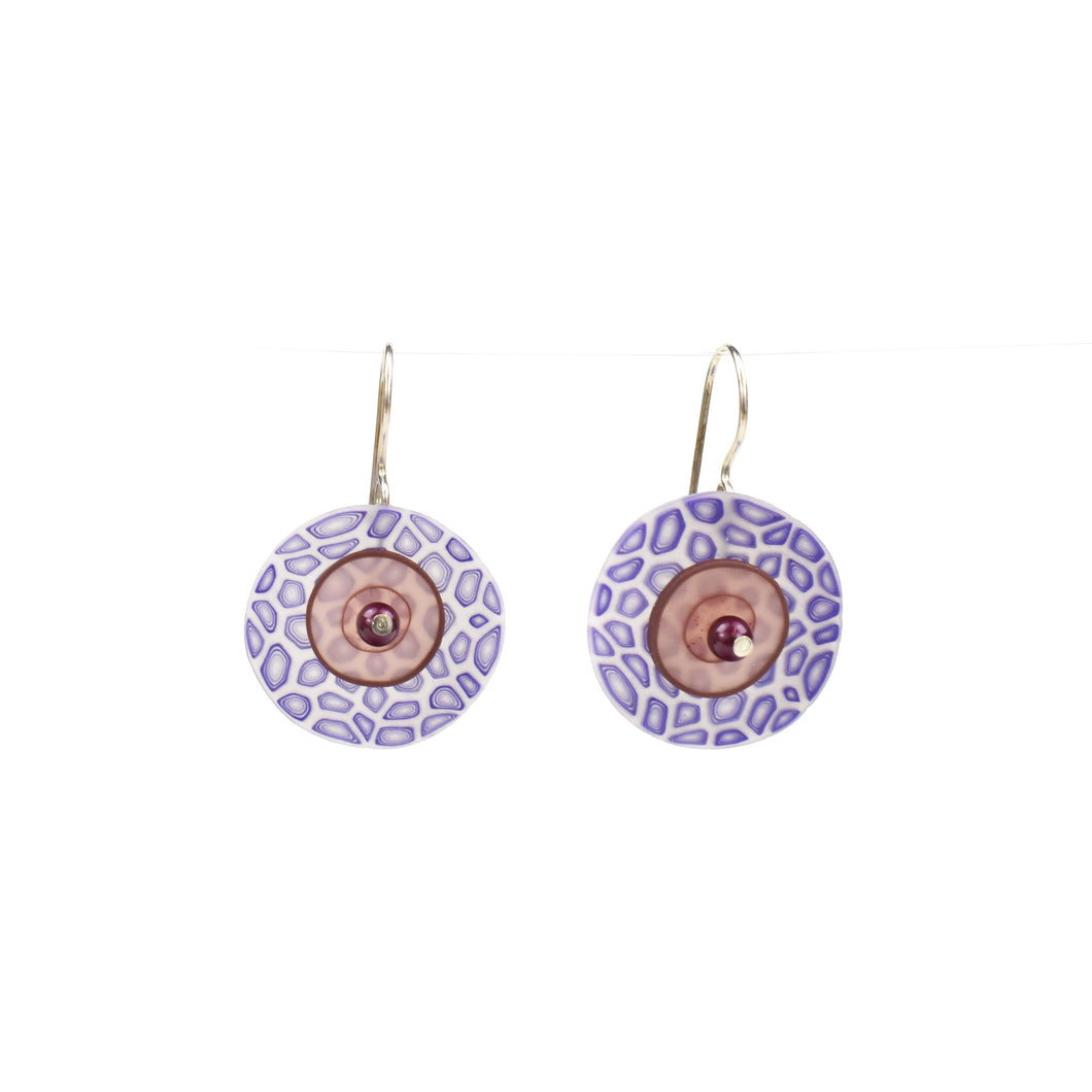 Laura Tabakman Purple and Tan Drop Earrings