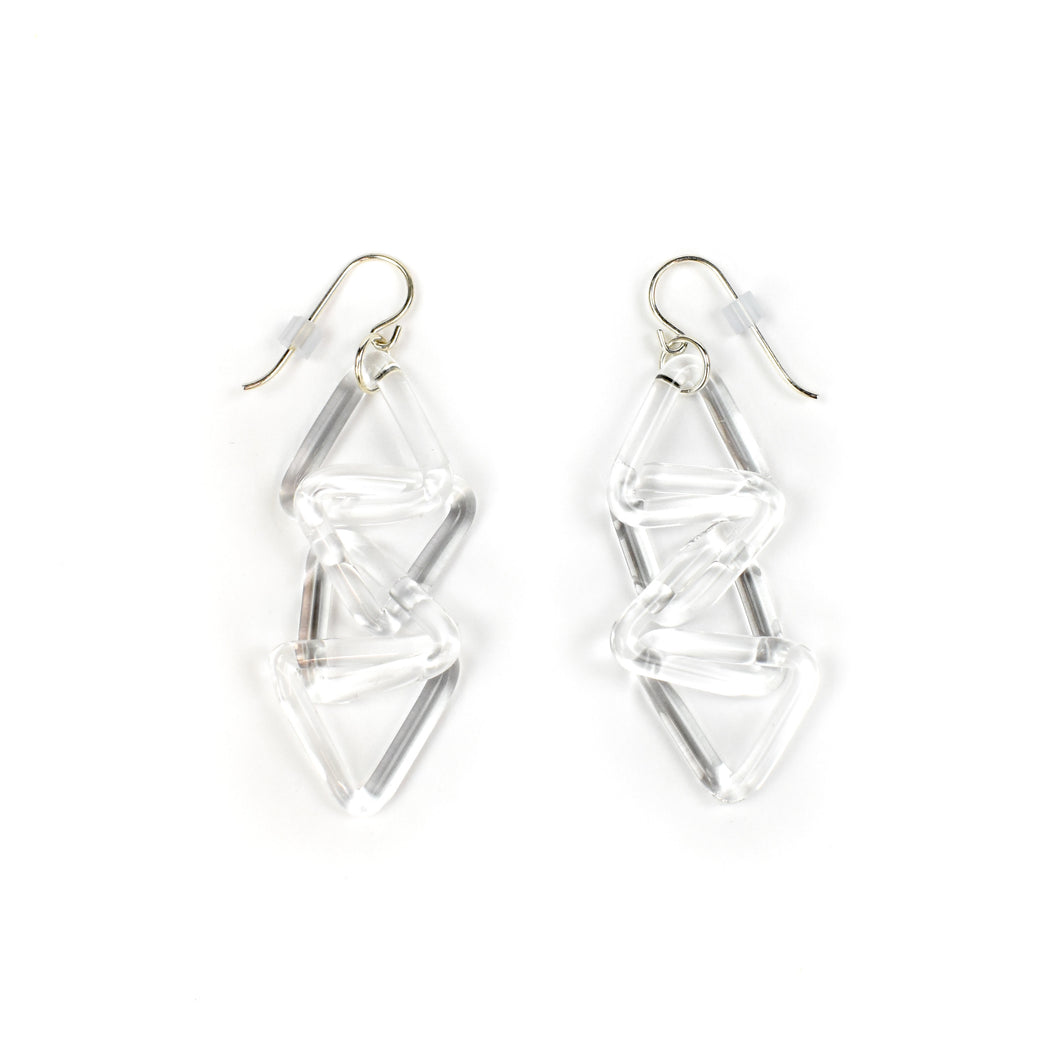 Roxann Slate Triangle Chain Glass Earrings