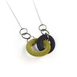Olga Mihaylova Two Tone Crocheted Circle Pendant Necklace