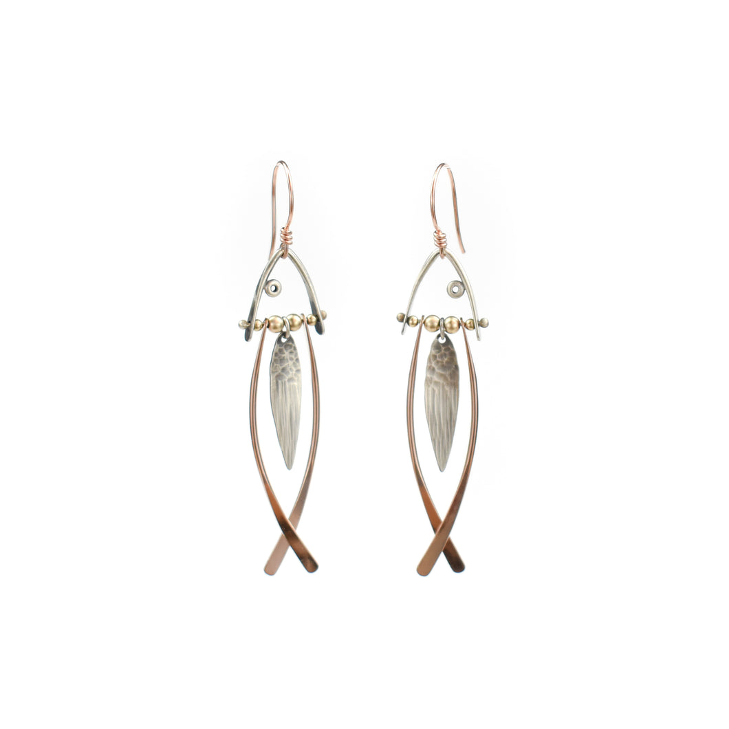 Aileen Lampman Rose Gold Filled/Sterling Fish Earrings