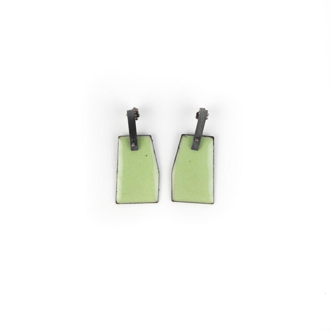 Lauren Markley Light Green Short Geometric Post Earrings