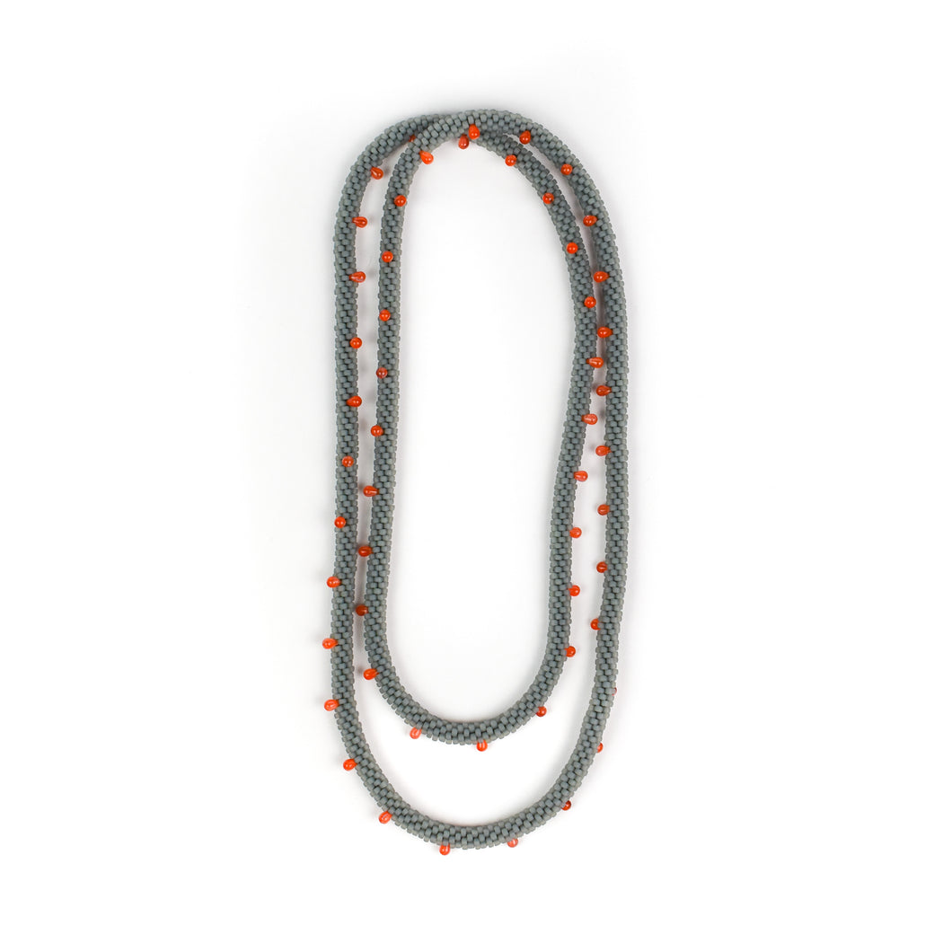 Olga Mihaylova Grey/Orange Dot Crocheted Rope Necklace