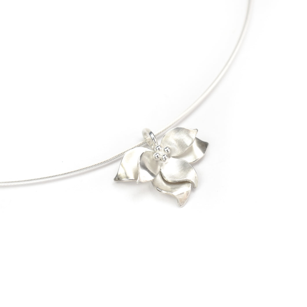 Aileen Lampman Sterling Lotus on Cable Wire Pendant Necklace