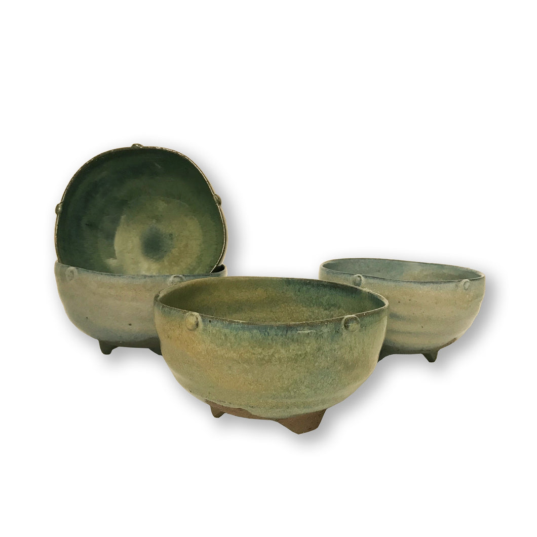 Willi Singleton Ceramic Five Sided Footed Bowl