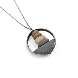 Jennifer Nunnelee Domed Circle Stone Stack Necklace