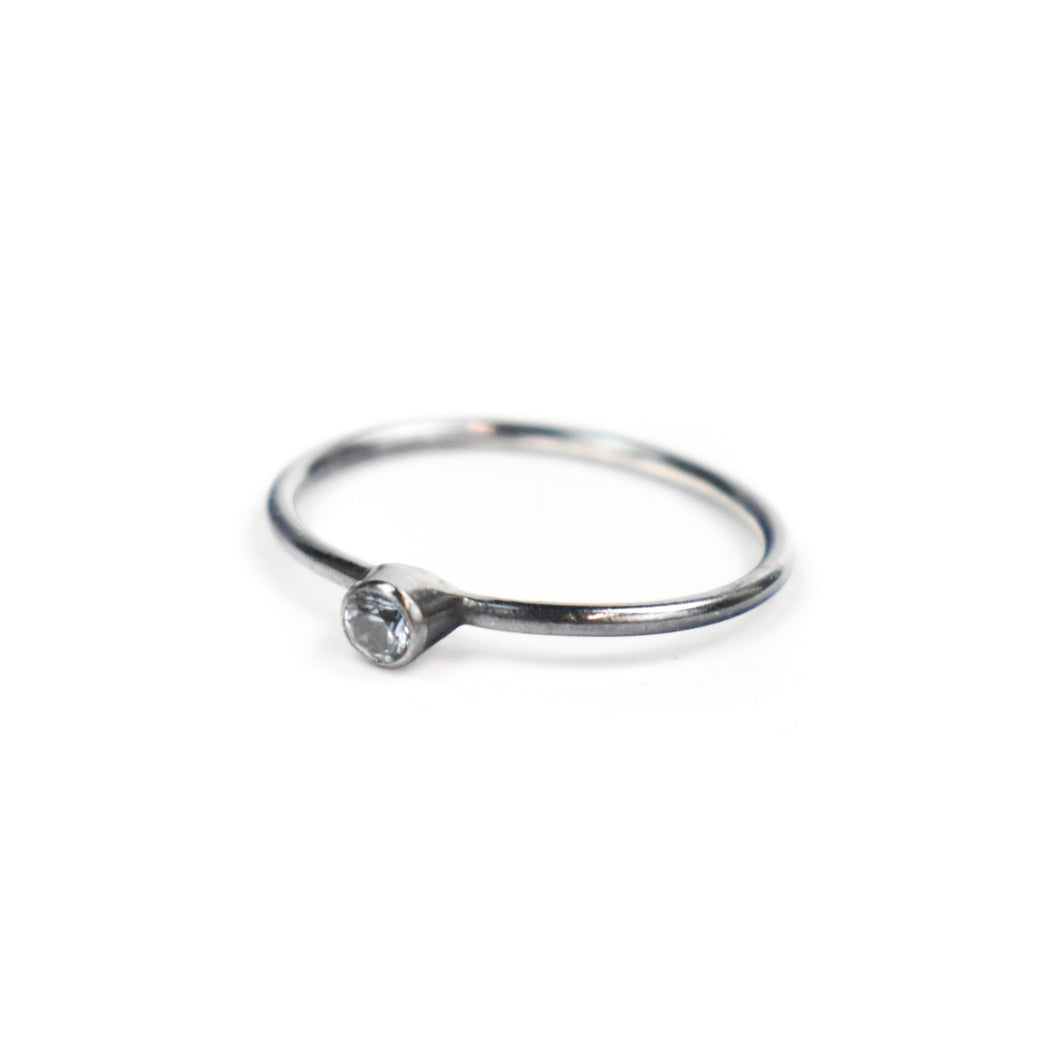 Emily Rogstad Single Studded Lab Aquamarine Stacking Ring