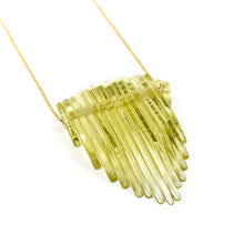 Load image into Gallery viewer, Gillian Preston Kinetic Deco Teardrop Necklace in Green Tea Tint with Gold Filled Chain