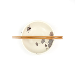 Sandy Miller Ceramic Gingko Bowl with Chop Stix