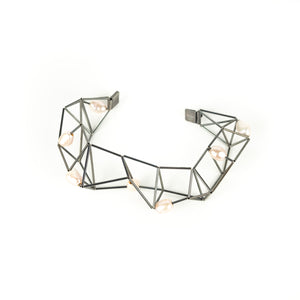 Emilie Pritchard Oxidized Sterling Silver with Pearls Geometric Bracelet