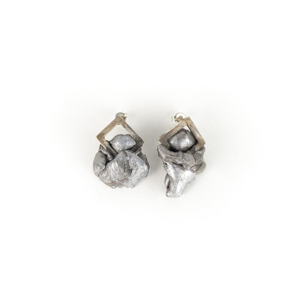 Lissy Selvius Diamond Sheet Melt Stud Earrings