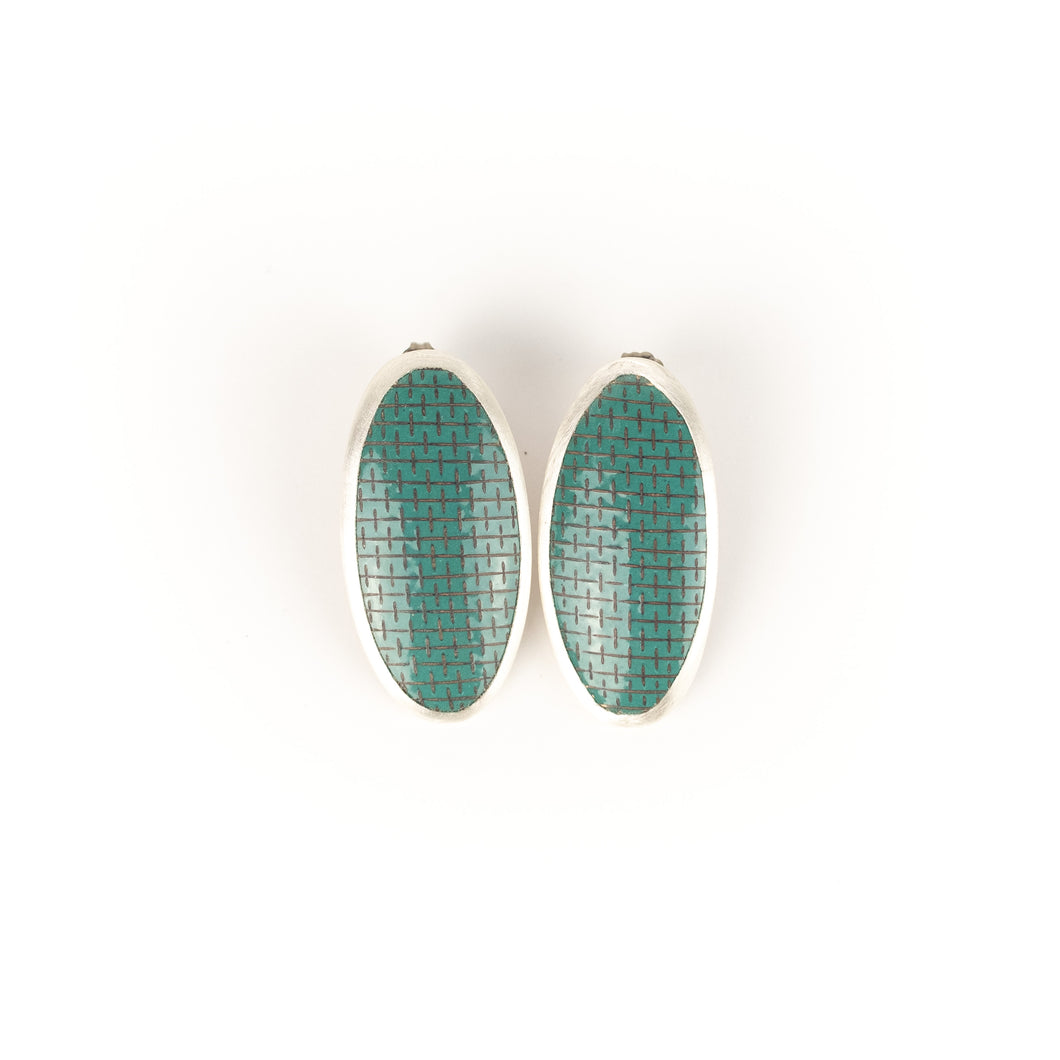 Hosanna Rubio Oval Enamel Earrings