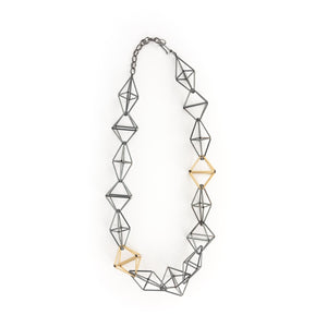 Emilie Pritchard Oxidized Sterling Silver & Gold Geometric Design Necklace