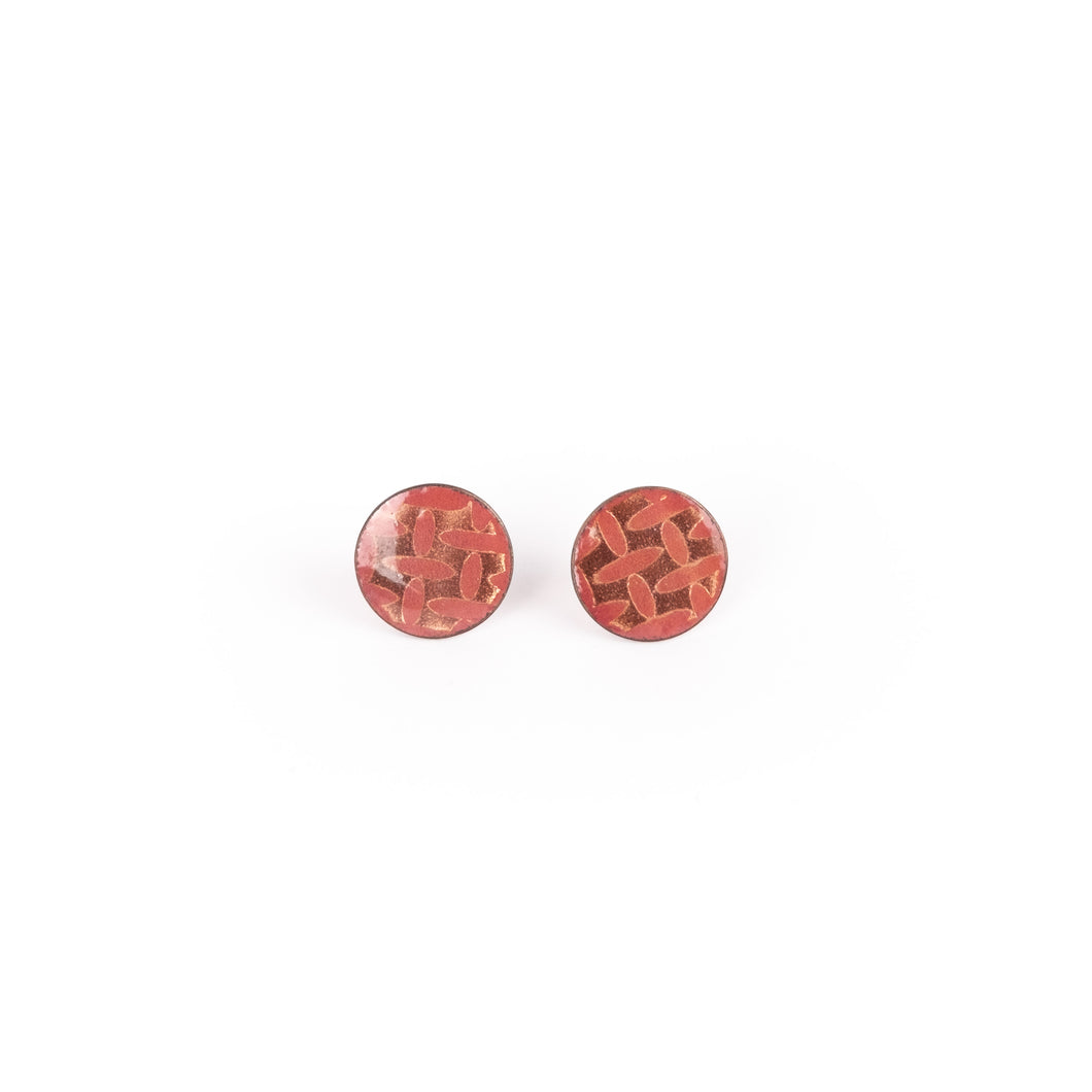 Hosanna Rubio Red Enamel Stud Earrings (sm)