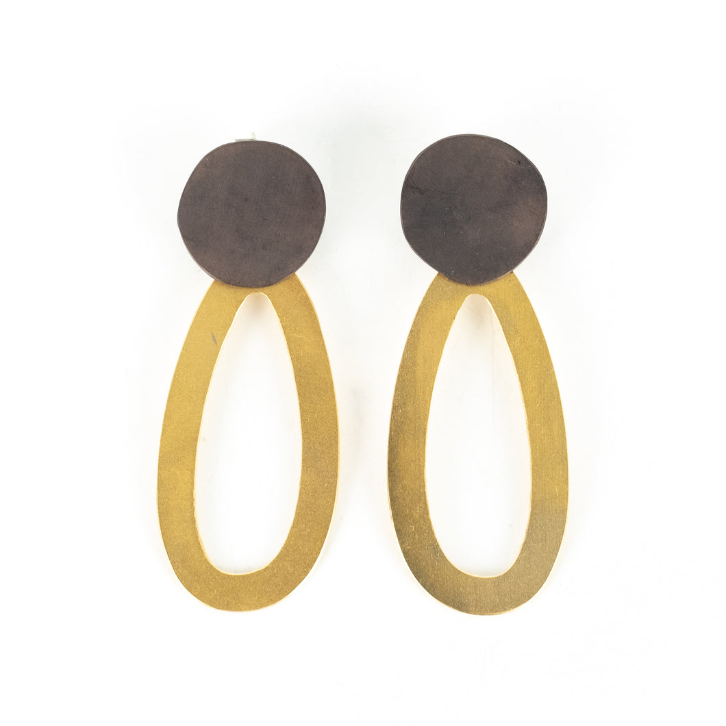 Maia Leppo Black Dot with Gold Oval Earrings