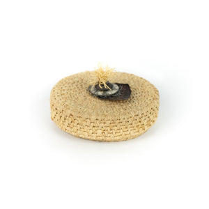 James Ebbert Raffia Basket with Turtle Shell Top