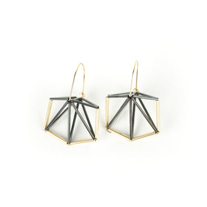Emilie Pritchard Oxidized Sterling Silver & Gold Four Triangle Geometric Earrings